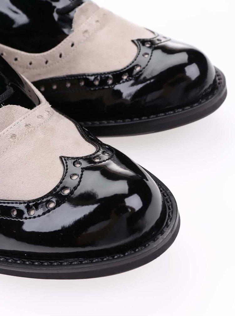 Krémovo-černé brogue polobotky na nízkém podpatku OJJU