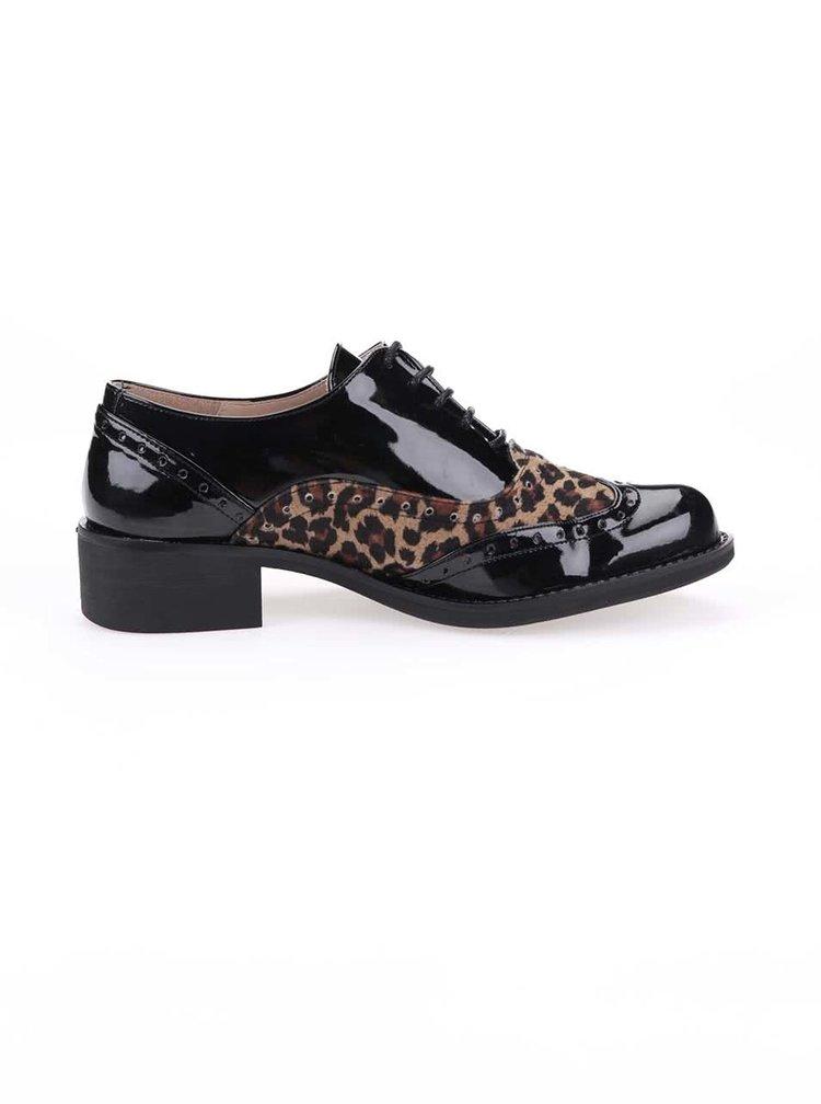 Ghete negre cu model piele de leopard si toc cubanez OJJU