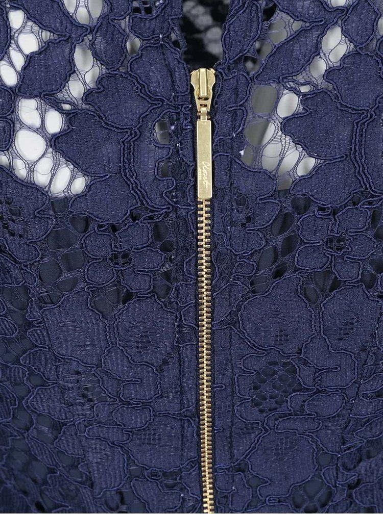 Tmavomodré čipkované šaty Closet