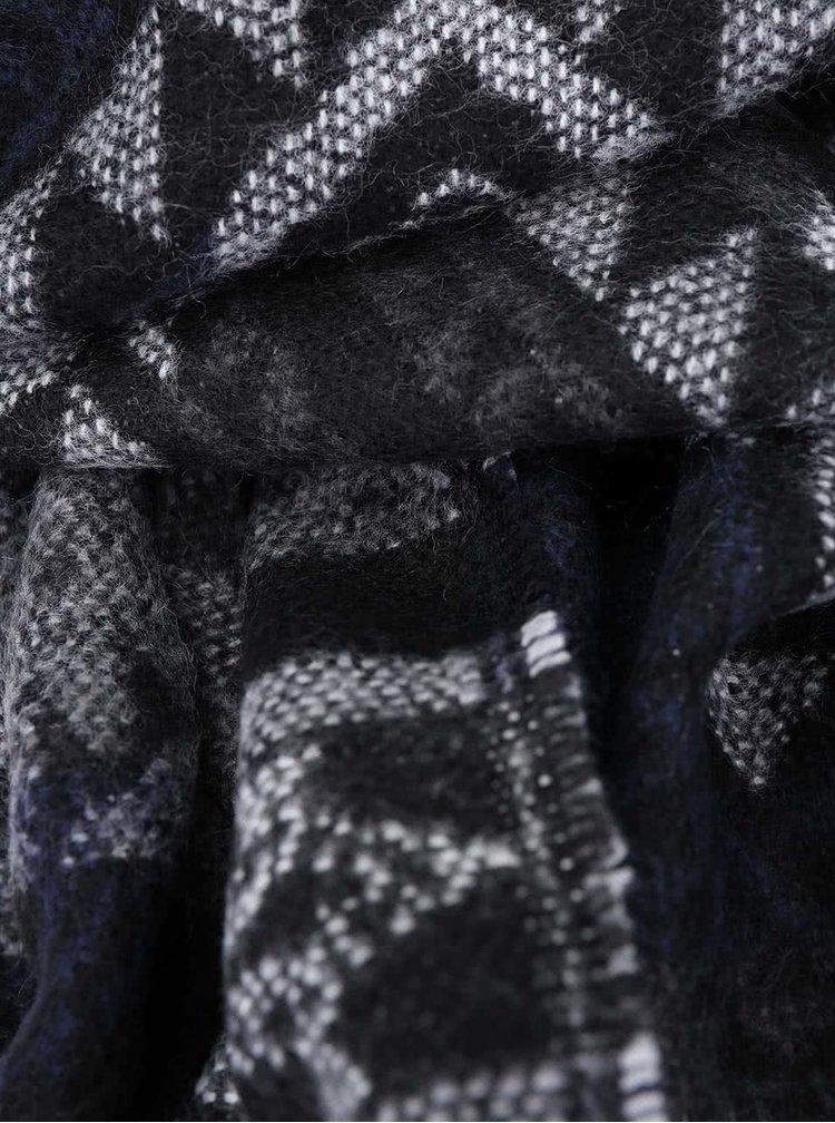 Tmavě modrá vzorovaná šála VERO MODA Rilla
