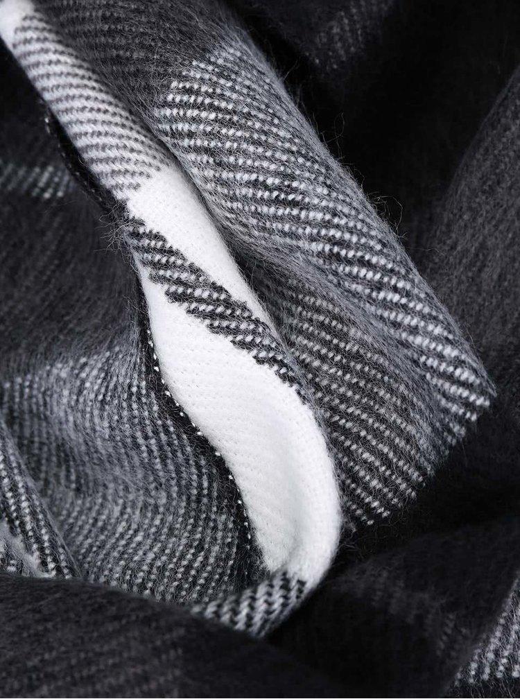 Bielo-čierny kockovaný šál VERO MODA Checko