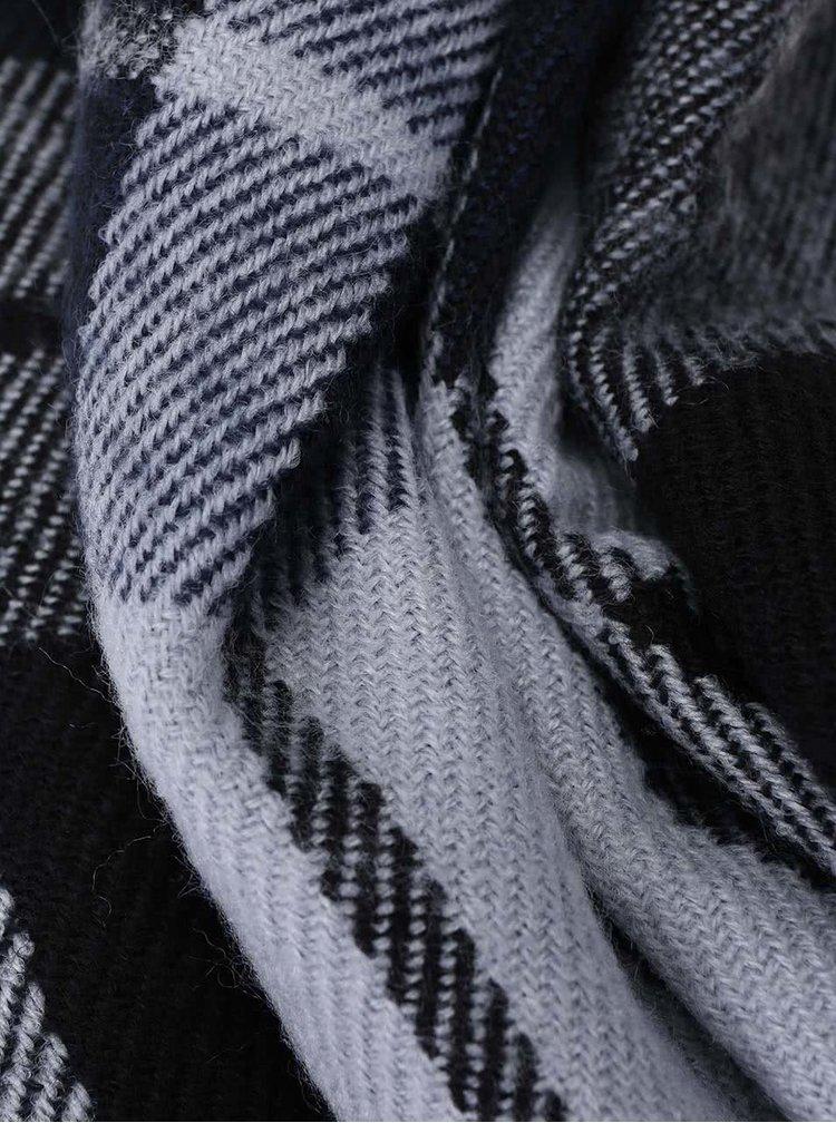 Modro-čierny kockovaný šál VERO MODA Checko