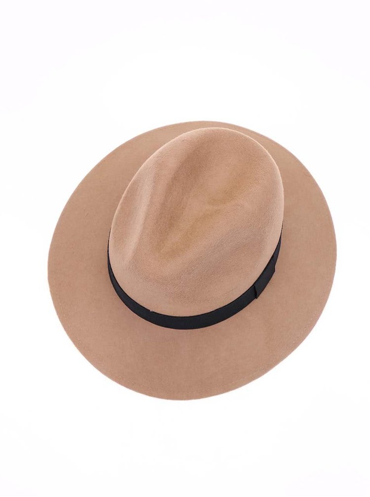 Světle hnědý vlněný klobouk ONLY Antonia