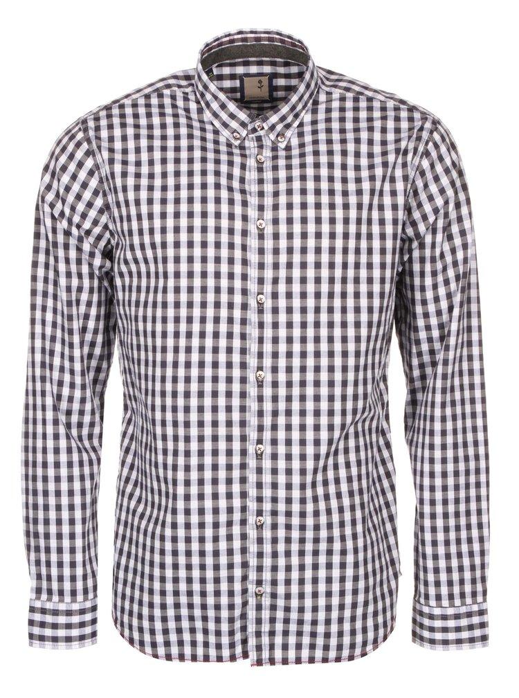 Bílo-šedá kostkovaná košile Seidensticker Jerry BD Plain Slim Fit