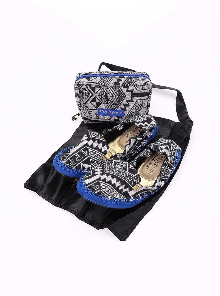 Balerini cu imprimeu negru și talpă albastră, model Carnaby de la Cocorose London