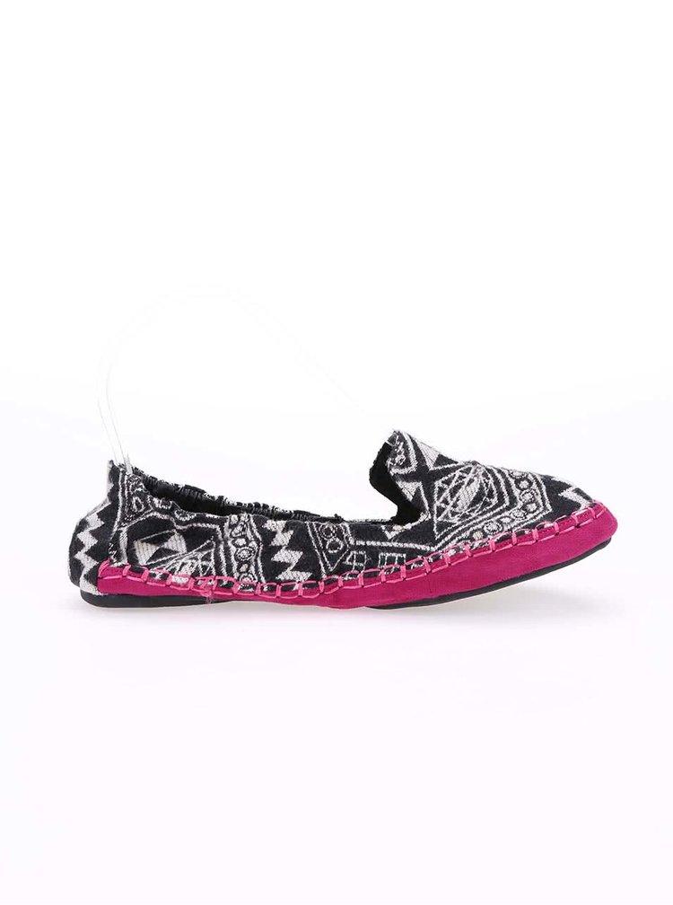 Balerini cu imprimeu negru si talpa roz, model Carnaby de la Cocorose London
