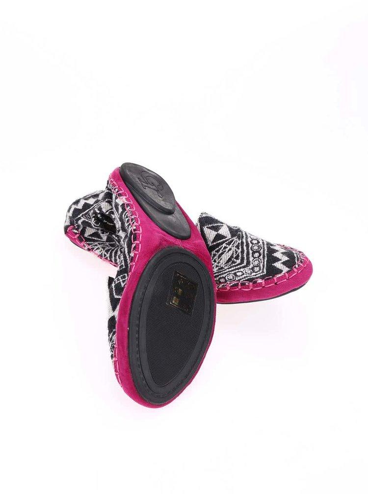 Balerini cu imprimeu negru și talpă roz, model Carnaby de la Cocorose London