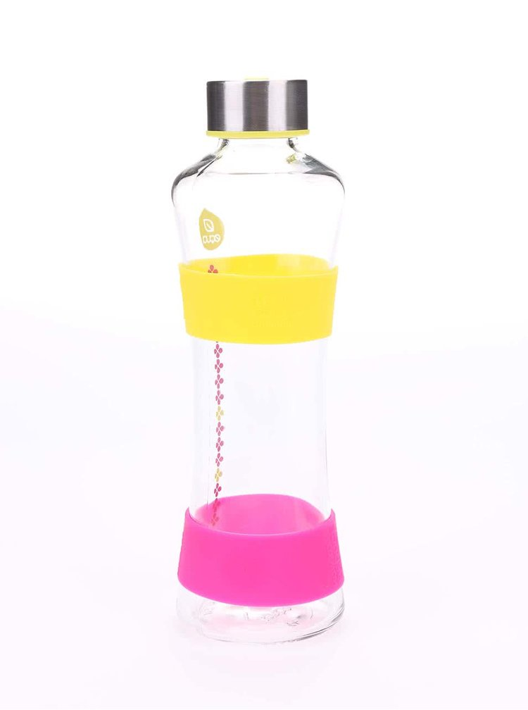 Sklenená fľaška s ružovými a žltými detailmi EQAU CMYK SQUEEZE (550 ml)