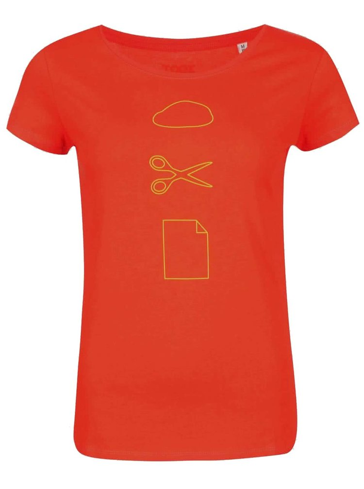 Oranžové dámské tričko ZOOT Originál Kámen Nůžky Papír