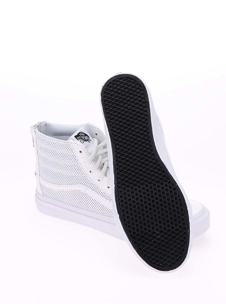 Bílé kožené dámské kotníkové tenisky Vans SK8-Hi