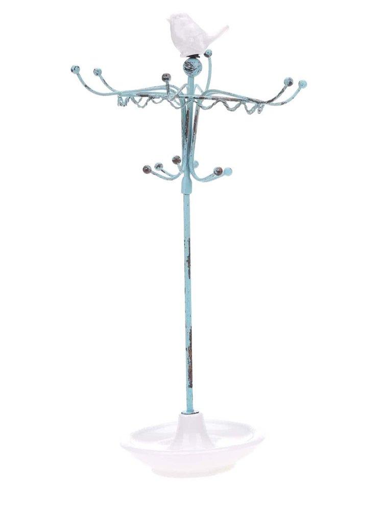 Tyrkysový vešiak na šperky s vtáčikom Sass & Belle Robin