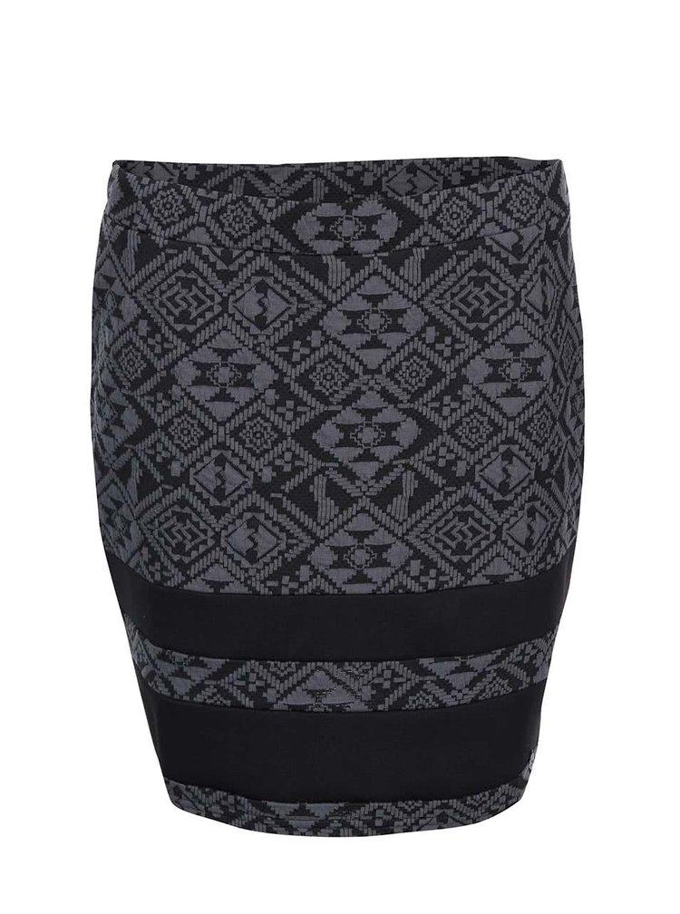 Černo-šedá sukně se žakárovým vzorem ONLY Charlot