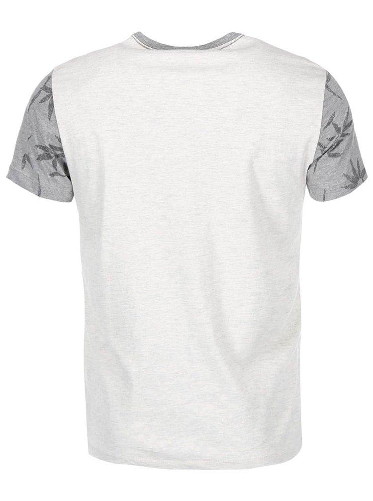 Šedé tričko s potiskem listů Blend