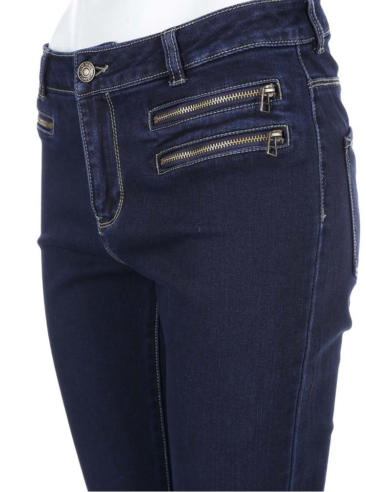 Tmavě modré slim džíny s ozdobnými zipy VERO MODA Seven