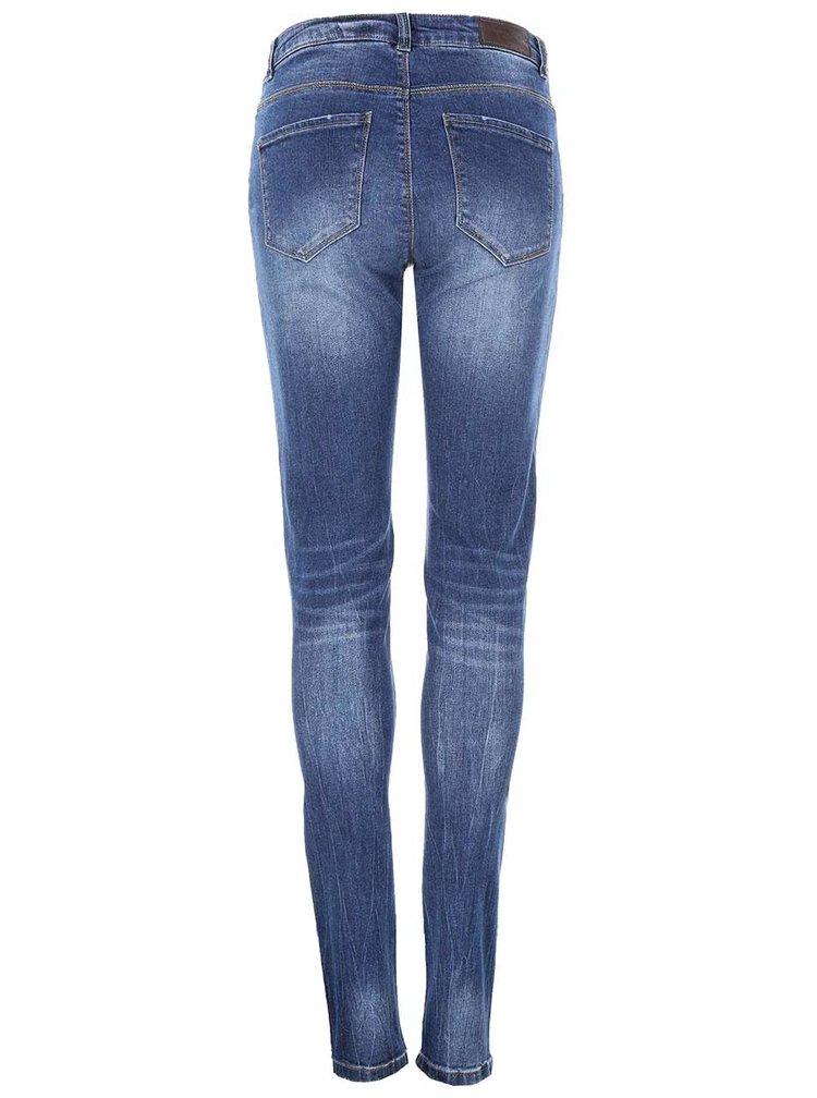 Modré slim džíny s ozdobnými zipy VERO MODA Seven