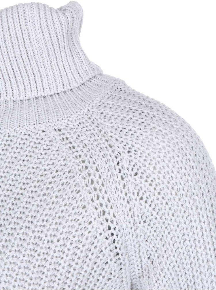 Pulover tricotat cu guler rulat si fermoar decorativ Noisy May Rain - gri