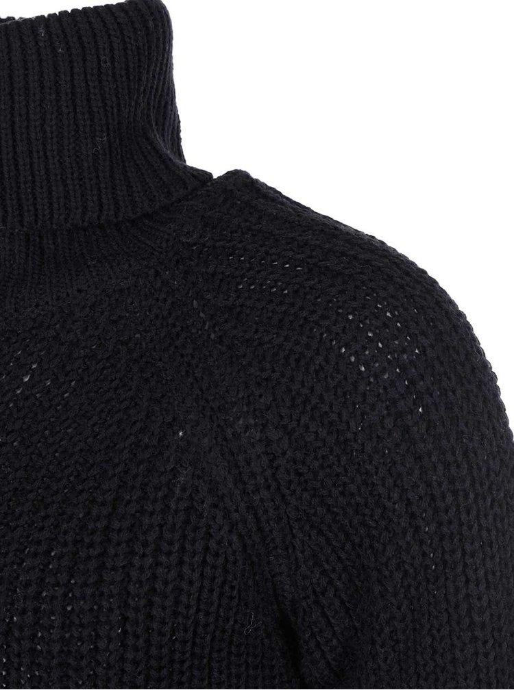 Černý pletený rolák s ozdobným zipem Noisy May Rain