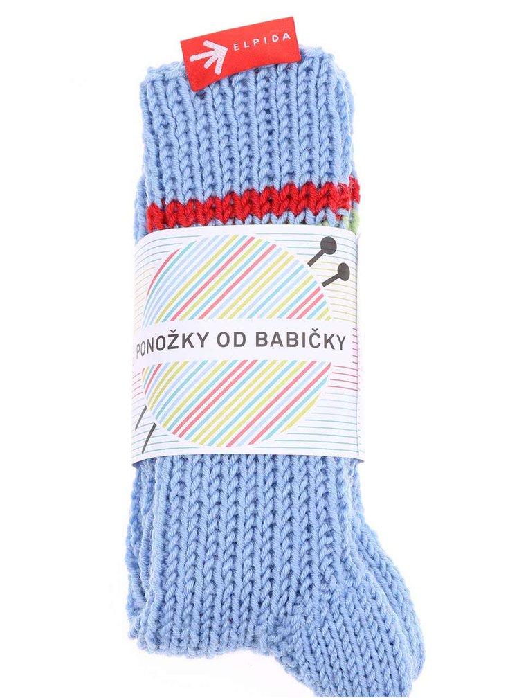 """""""Dobré"""" světle modré pletené ponožky od babičky Elpida"""