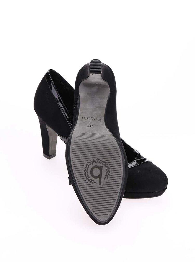 Pantofi de damă negri Bugatti Haven cu toc înalt din piele întoarsă