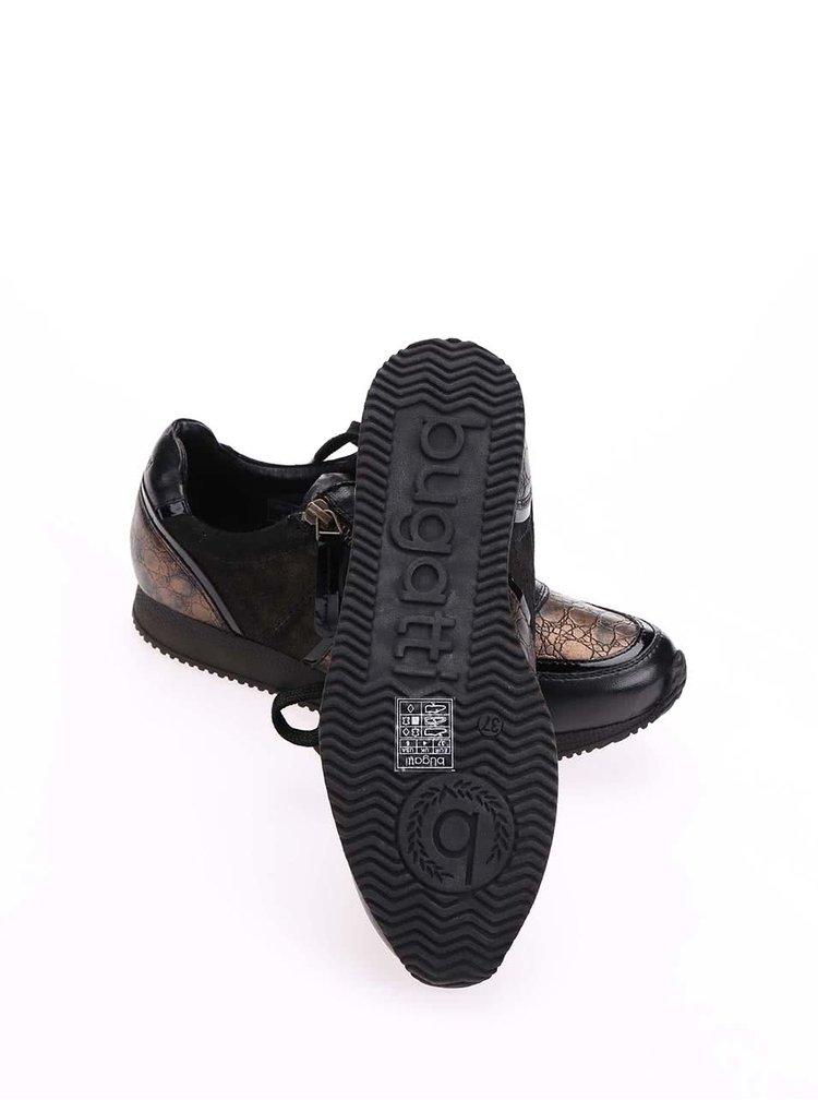 Černé kožené tenisky s měděnými detaily bugatti Lana