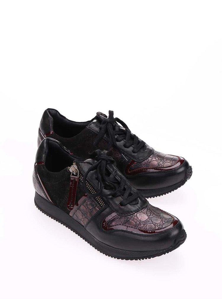 Černé kožené tenisky s červenými detaily bugatti Lana