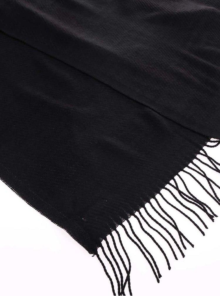 Čierny šál so strapcami Pieces Kial