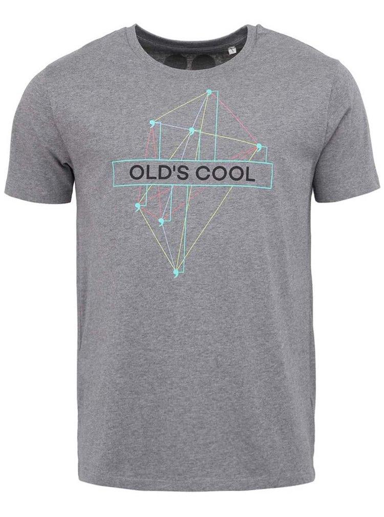 """Dobré"" šedé pánské triko s grafikou Old´s Cool Elpida"