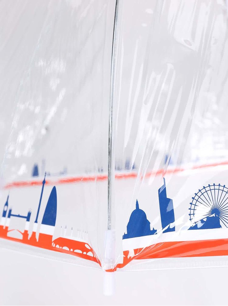 Průhledný deštník s panoramatem Londýna Lindy Lou Tricolor