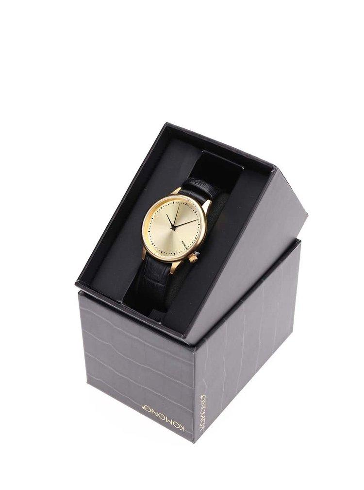 Dámské hodinky ve zlaté barvě s černým koženým páskem Komono Estelle Croc