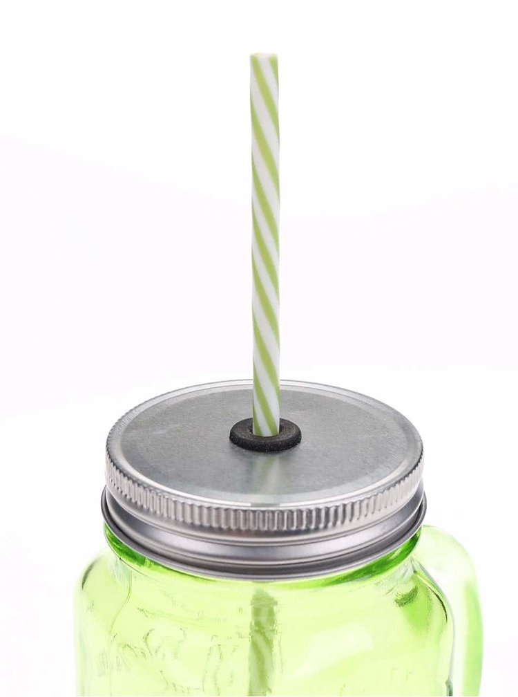 Zelená uzavíratelná sklenice s brčkem Kitchen Craft