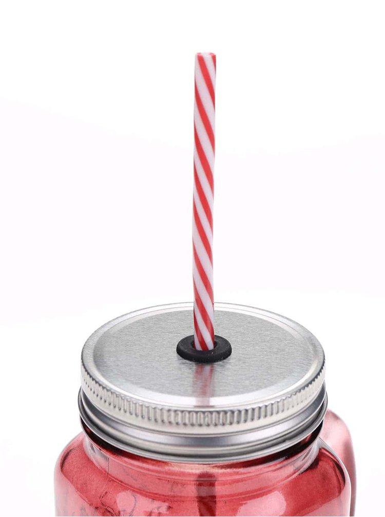 Červený uzatvárateľný pohár so slamkou Kitchen Craft