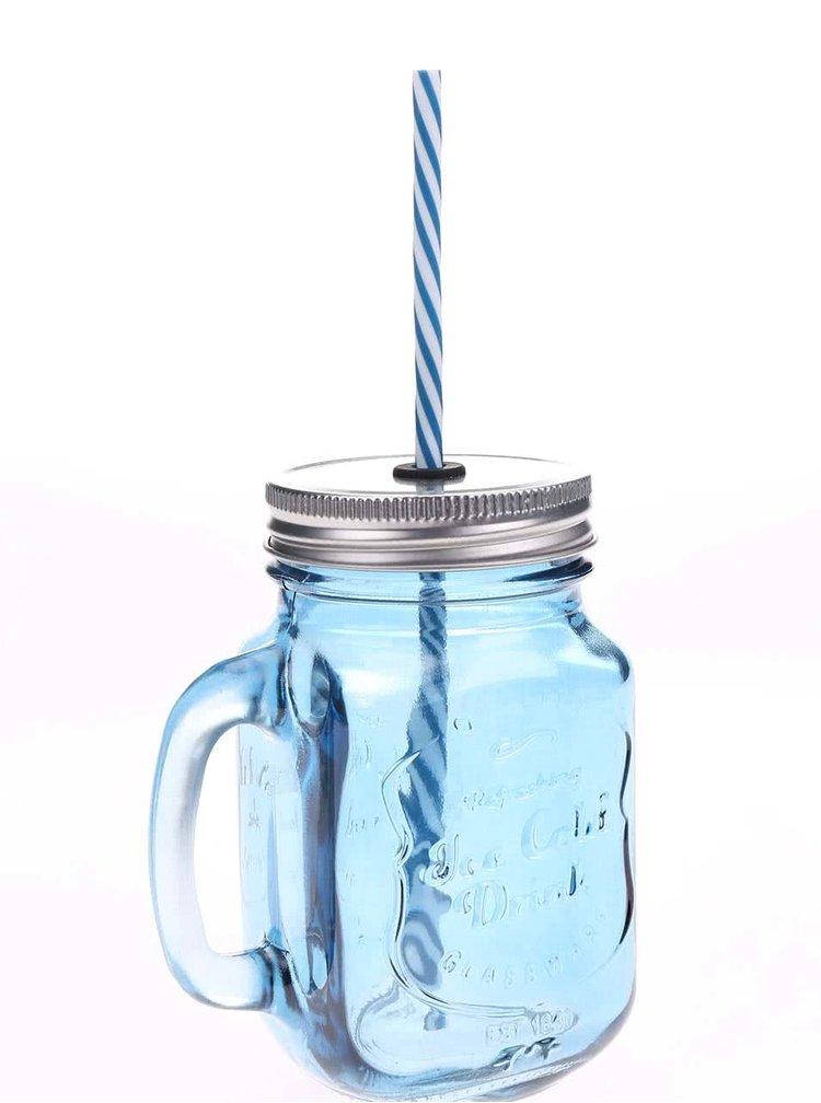 Modrá uzavíratelná sklenice s brčkem Kitchen Craft