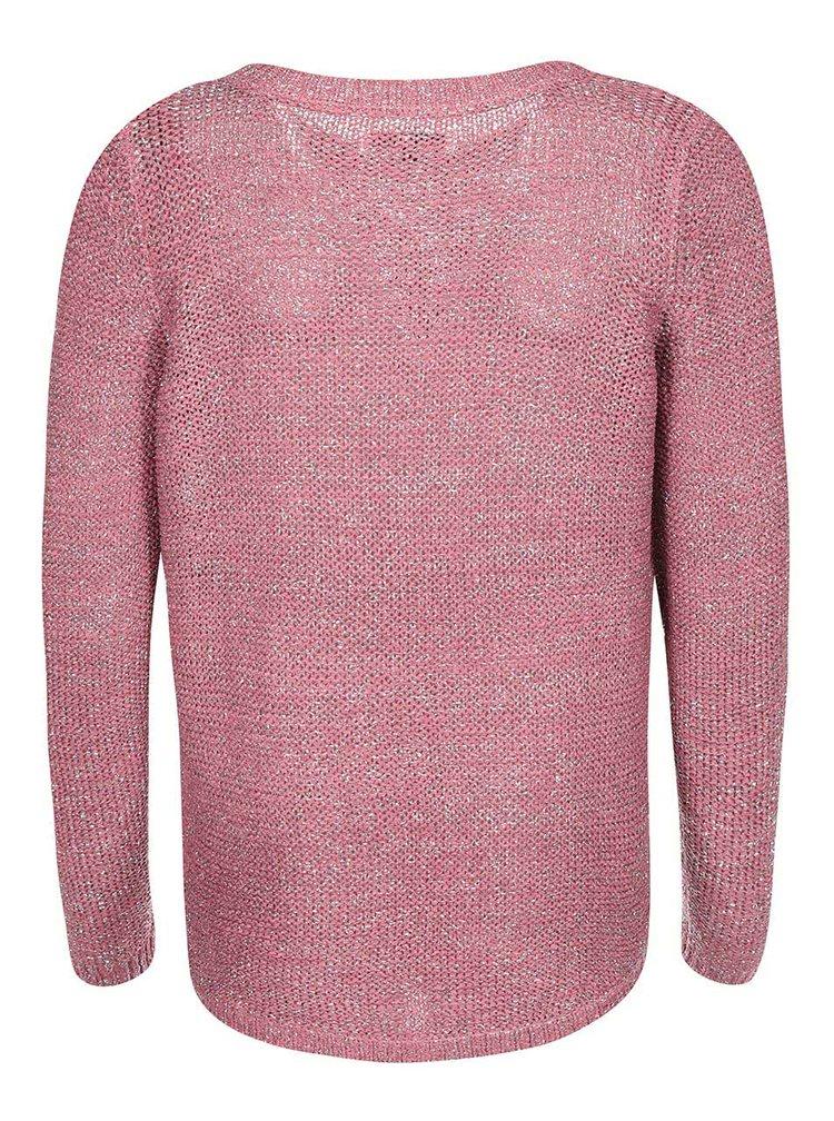 Ružový sveter so strieborným prešívaním ONLY Geeny