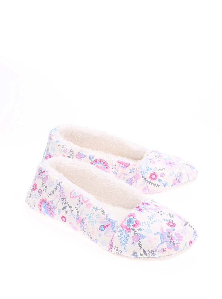 Papuci Dreama cream cu model floral de la Tom Joule