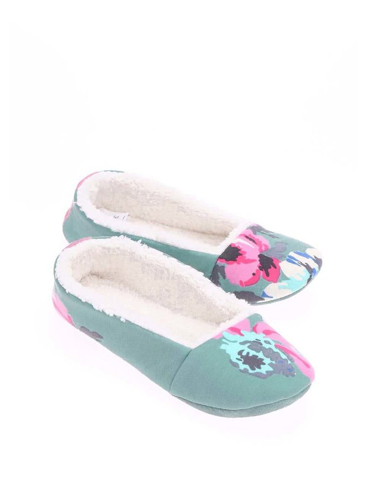 Papuci Dreama verzi cu model floral de la Tom Joule