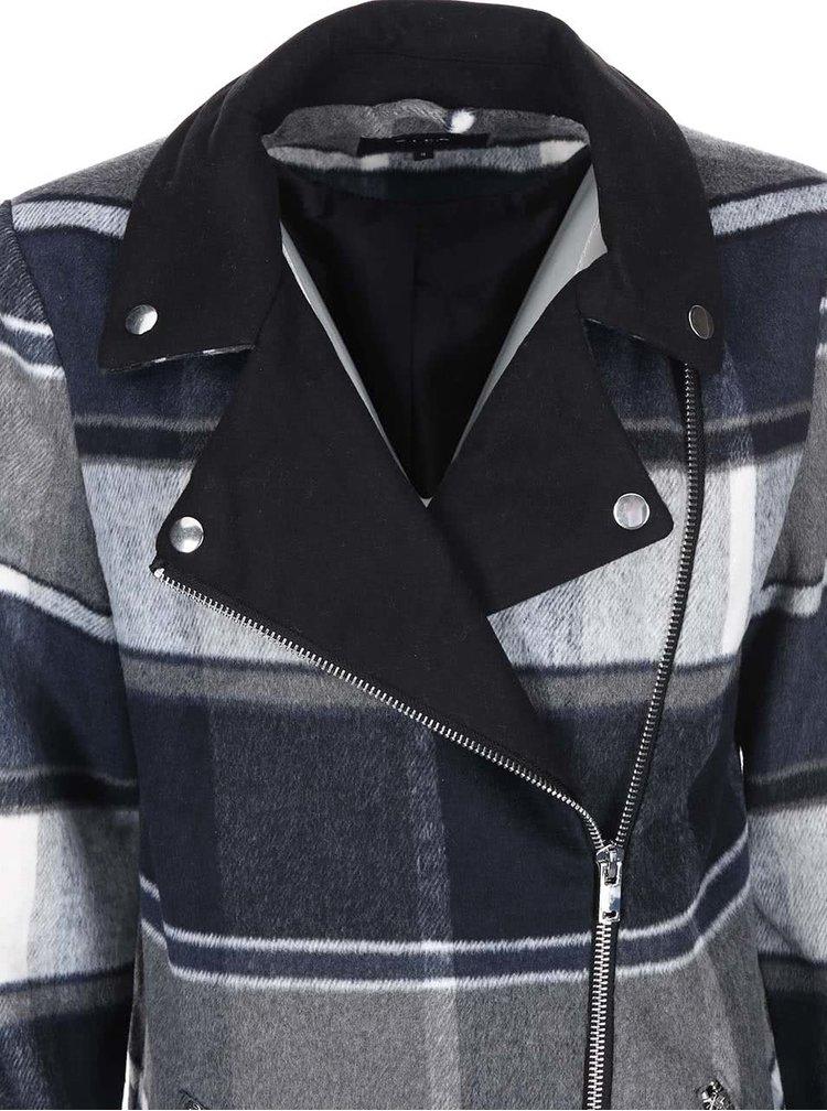 Modro-šedý kostkovaný kabát VILA Vintour