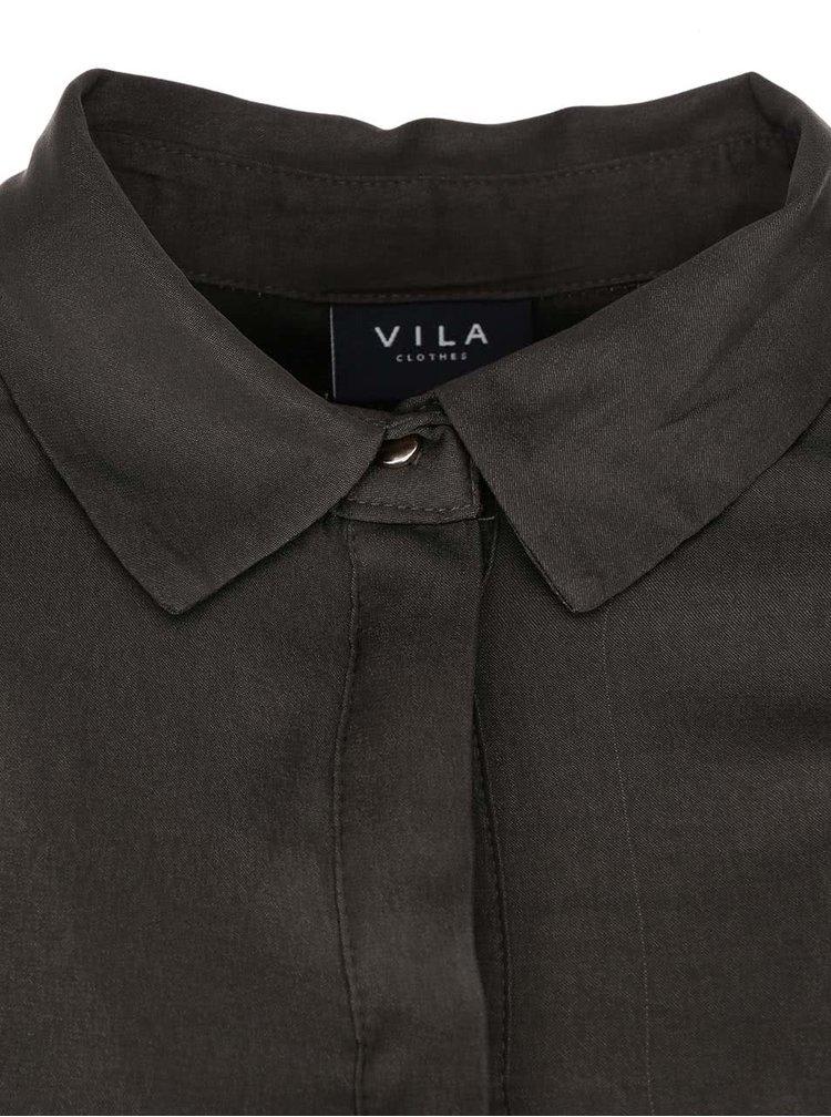 Khaki lesklá dlhšia košeľa VILA Sofital Long