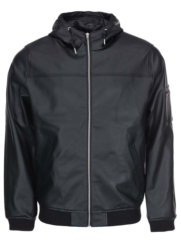 Jachetă din piele artificială, cu glugă D-Struct Beven - neagră