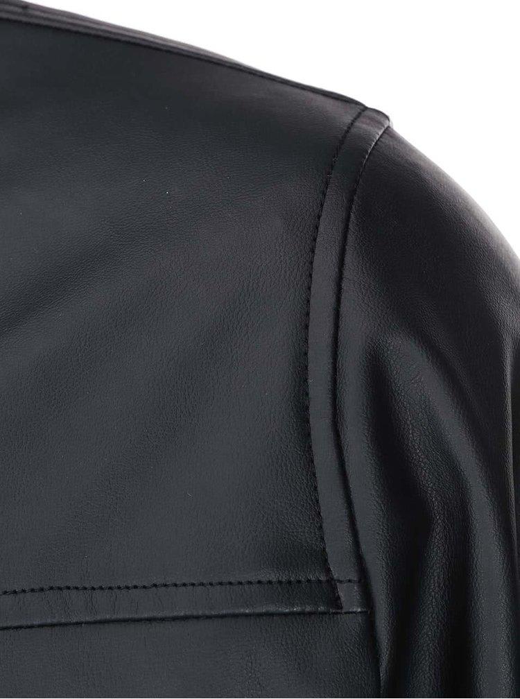 Čierna koženková bomber bunda D-Struct Folly