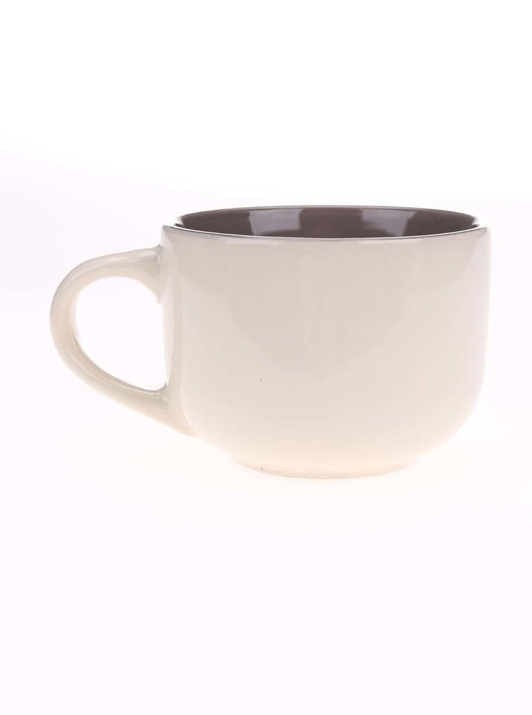 Hnedo-krémový keramický hrnček so srdiečkom Dakls