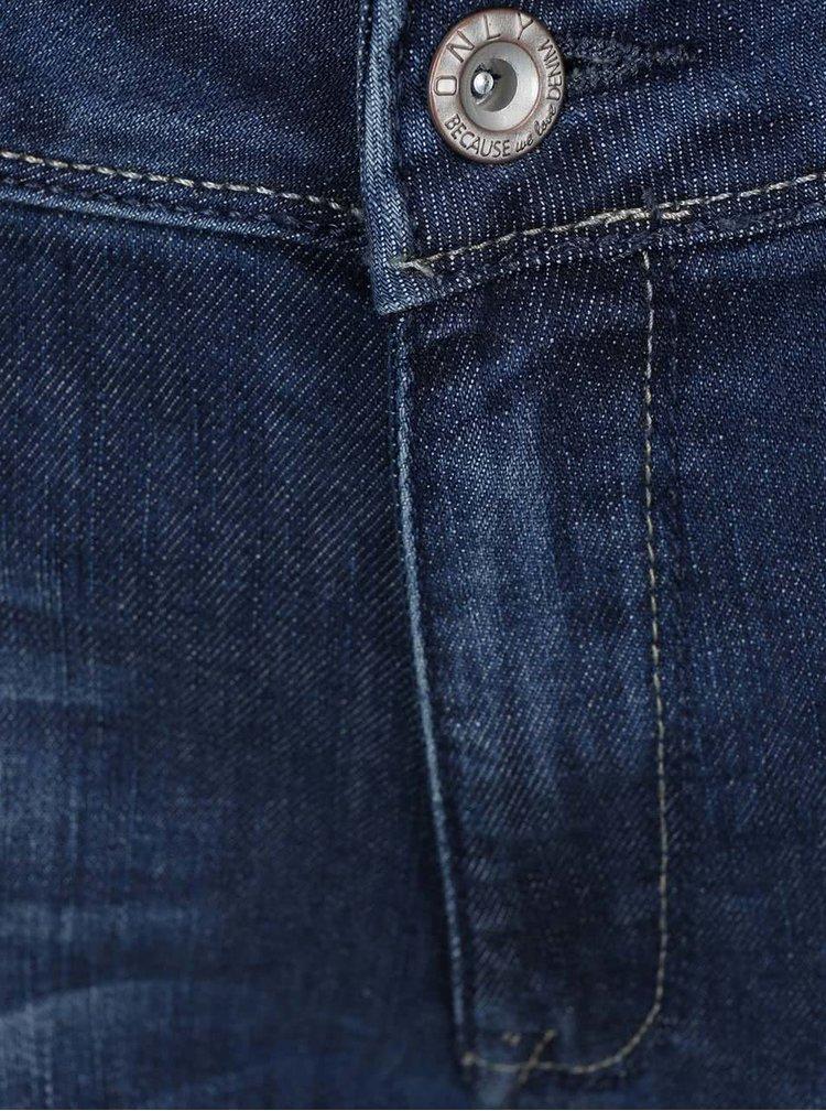 Modré rovné džíny s dírami na kolenou ONLY Coral