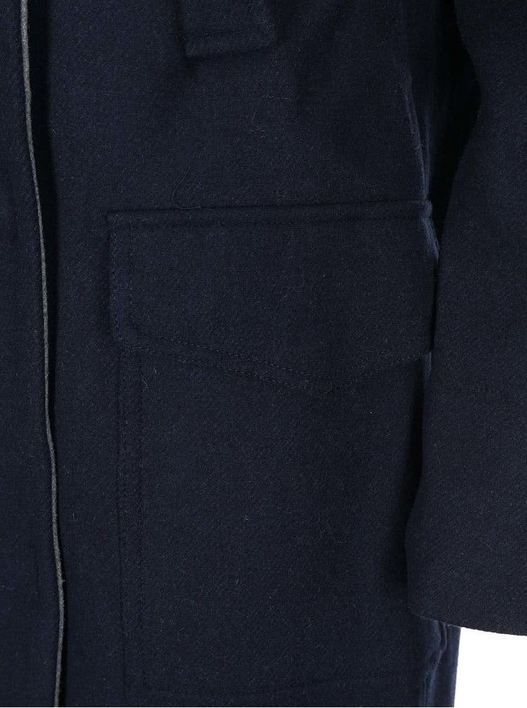 Tmavě modrý kabát s šedým límečkem VERO MODA Malene