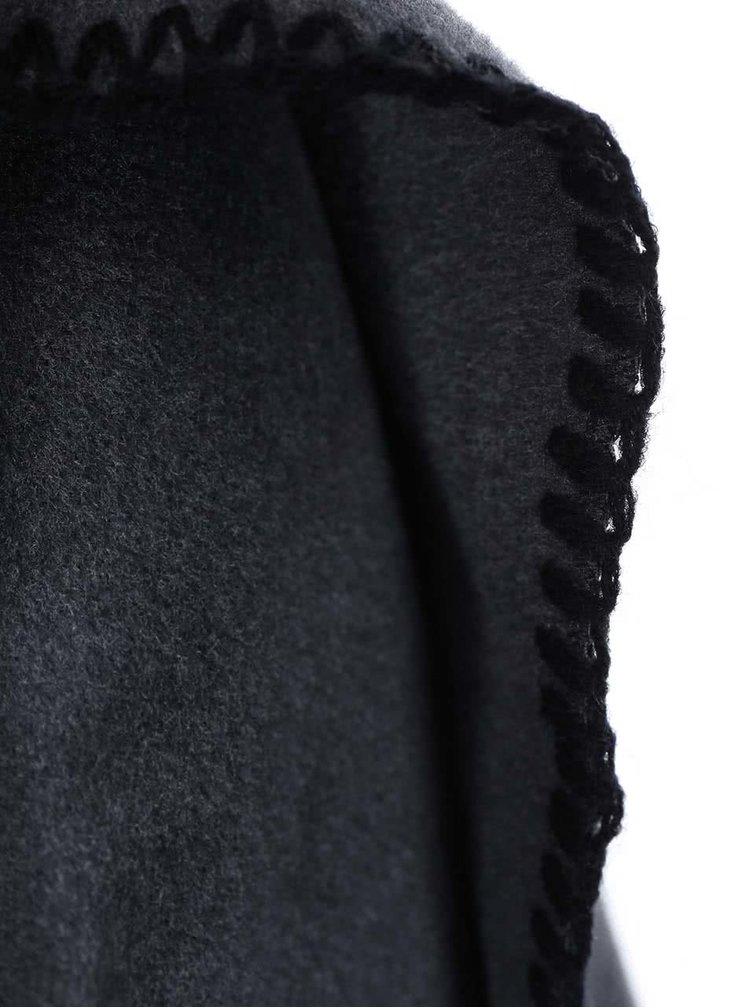 Šedý kabát se širokým límcem Lavand
