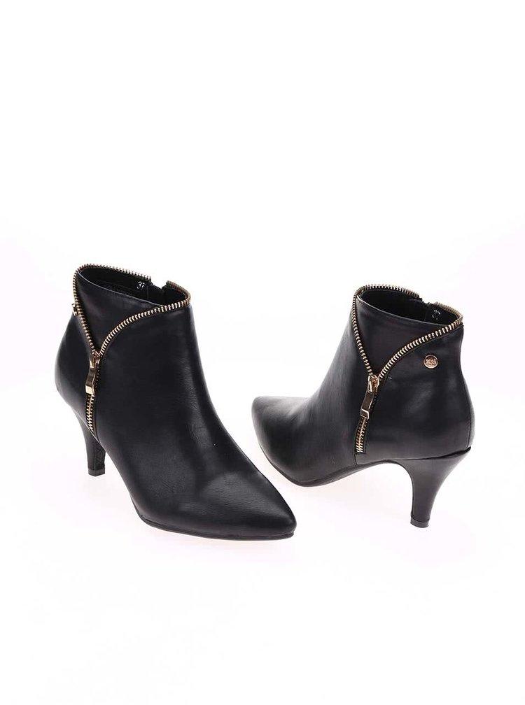 Černé boty na podpatku se zipem ve zlaté barvě Xti