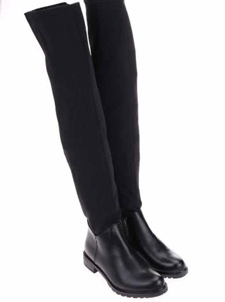Černé vysoké kozačky nad kolena Pieces Roz