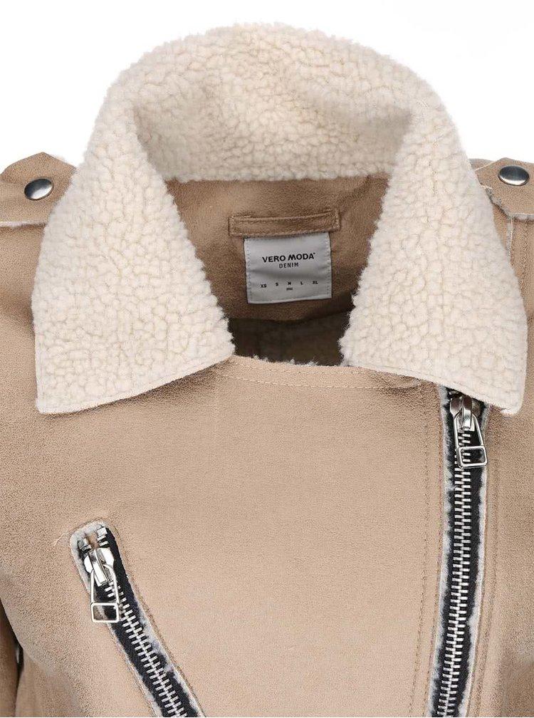 Jachetă bina din blană artificială bej de la VERO MODA