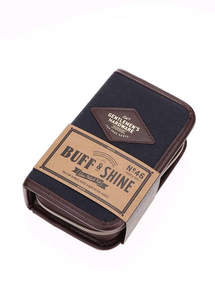 Set de lustruit pantofii Buff & Shine in cutie albastra de la Gentlemen's Hardware