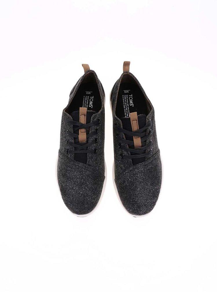 Černé pánské žíhané tenisky Toms Viaje Sneaker
