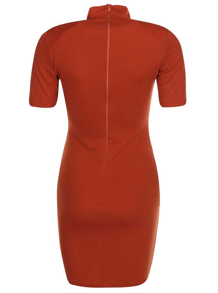 Cihlové pouzdrové šaty s krátkými rukávy AX Paris