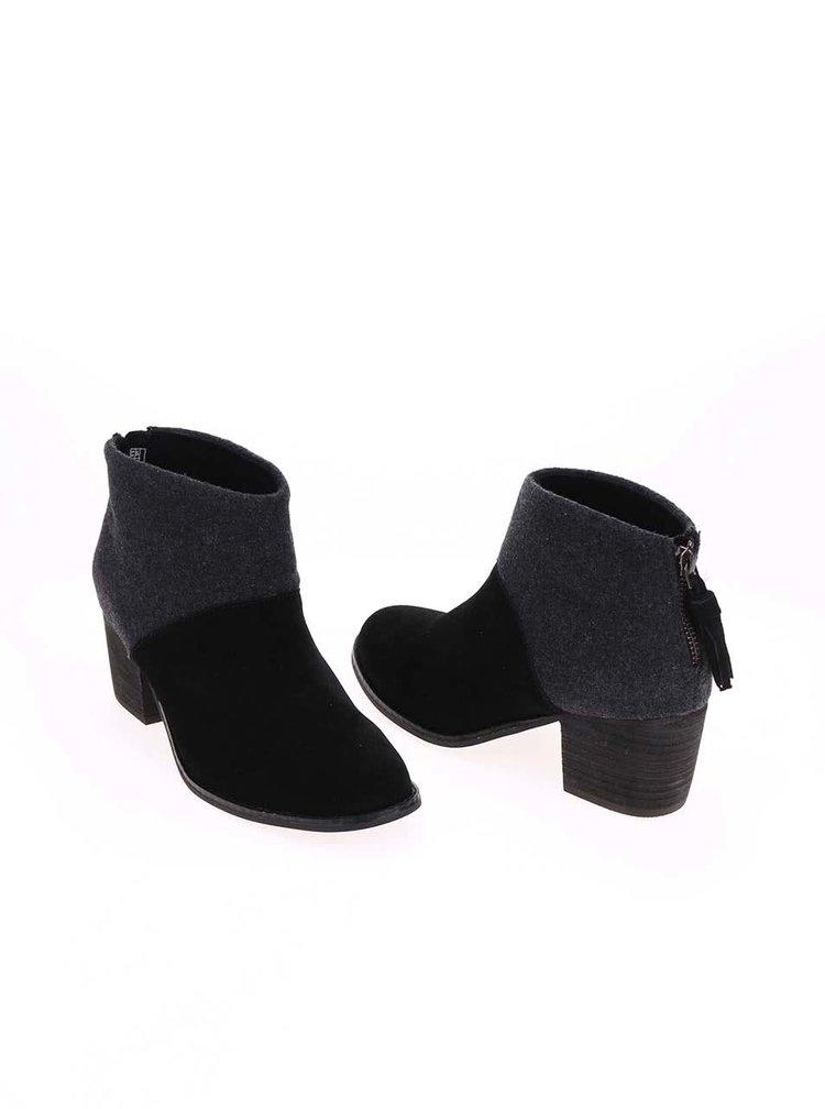Sivo-čierne dámske kožené topánky na nízkom podpätku TOMS Leila